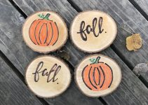 DIY WOOD SLAB COASTER DESIGN IDEAS FOR FALL DECORATION