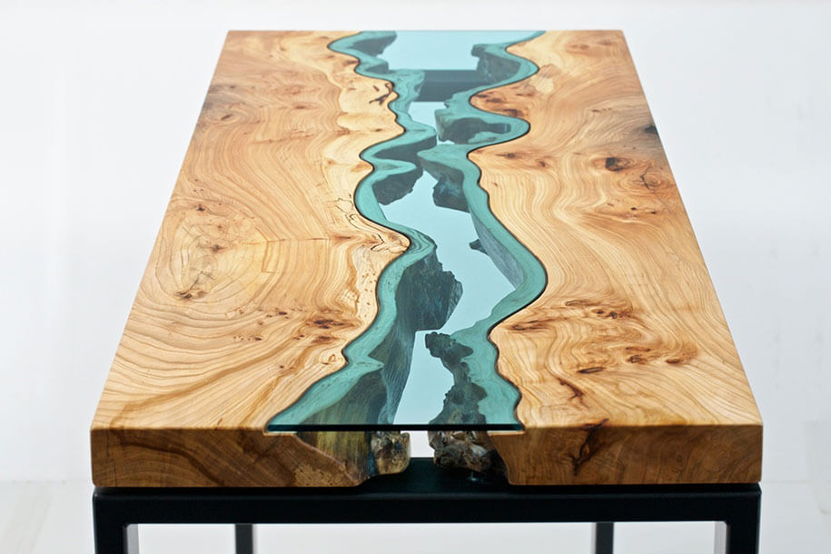 NICE WOODEN DINING TABLE WITH BLUE GLASS DESIGN IDEAS