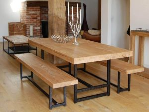WOODEN DINING TABLE AND CHAIR RECLAIMED WITH IRON DESIGN IDEAS