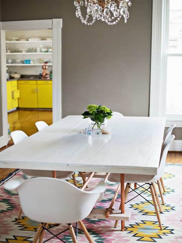 WOODEN DINING TABLE WITH FOOT REST AND COOPER LEG DESIGN IDEAS