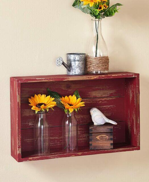 DIY WEATHERED WOOD WALL SHELVES DECOR IDEAS