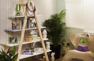 DIY WOOD LADDER SHELVES IDEAS
