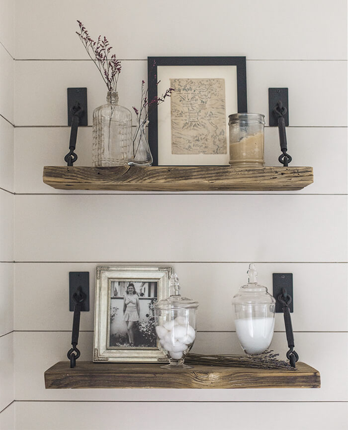 DIY WOODEN SHELVING IDEAS WITH VINTAGE HOOKS