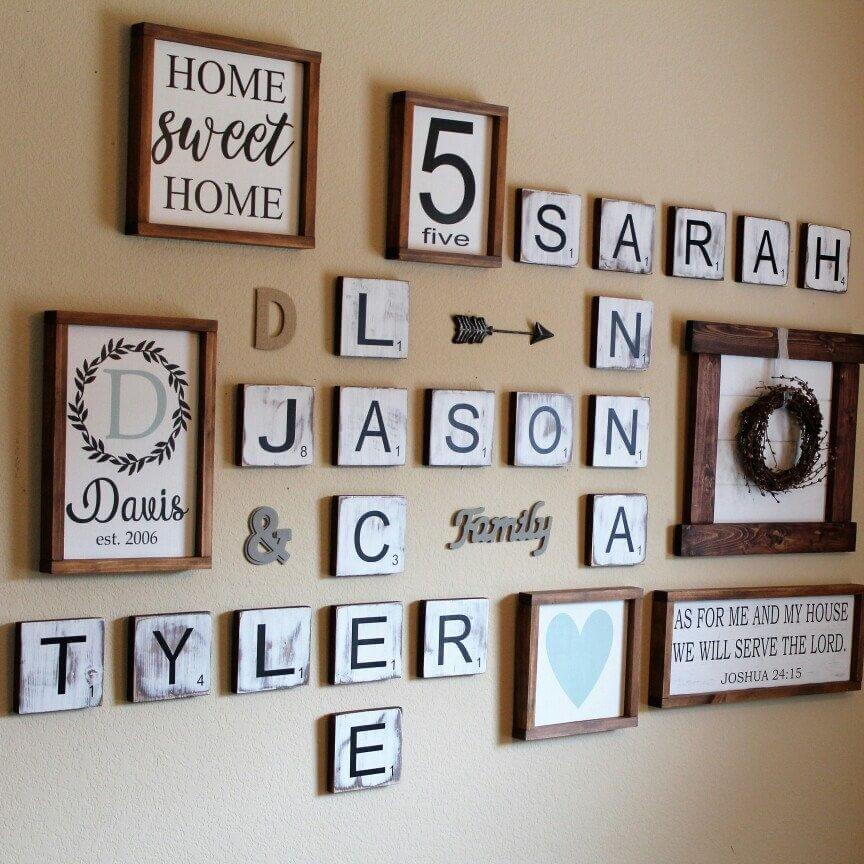 FAMILY NAME SCRABBLE WALL WEATHERED WOOD DECORATING IDEAS