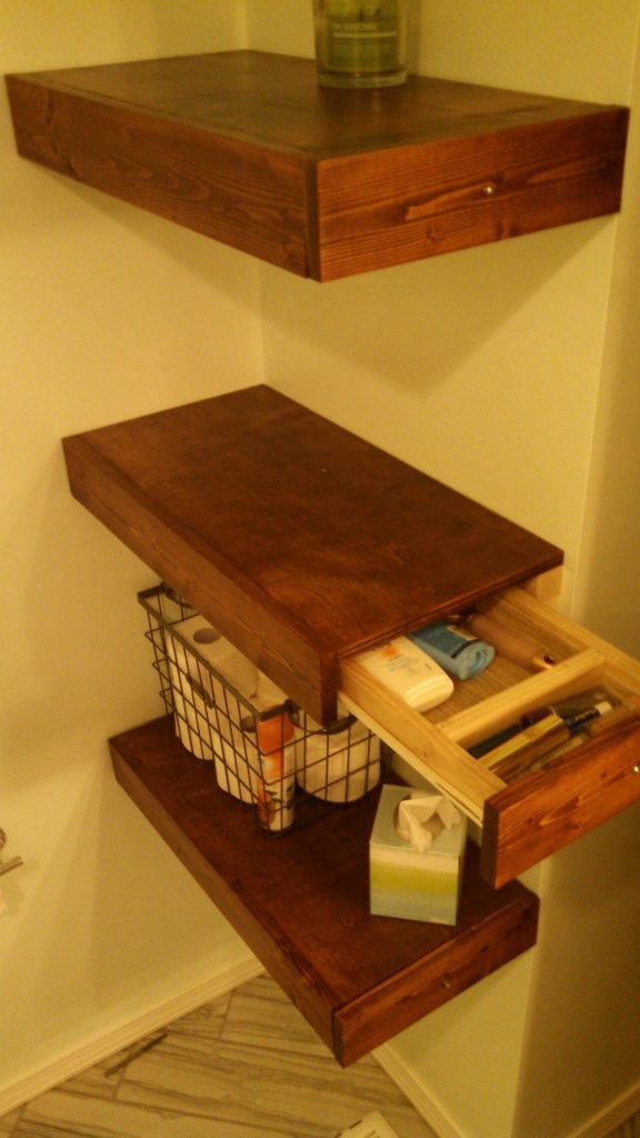NICE DESIGN FLOATING SHELVES WITH DRAWERS