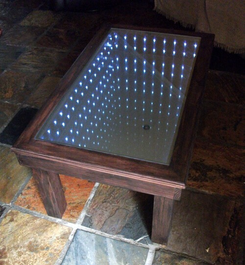 RECLAIMED MIRRORED COFFEE TABLE WOODEN FURNITURE PROJECTS IDEAS