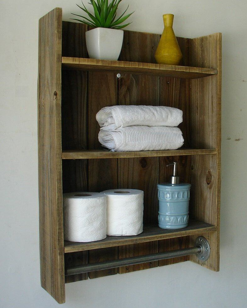 RECLAIMED WOOD BATHROOM SHELVES DECORATING IDEAS