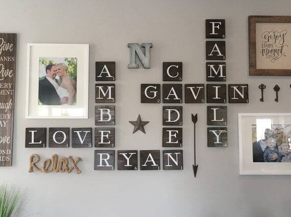 SCRABBLE WALL WEATHERED WOOD DECOR IDEAS