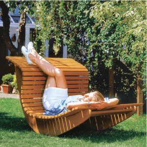 SUMMER WAVES WOODEN CHAISE RECLINER FURNITURE OUTDOOR IDEAS