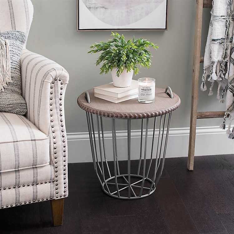 BASKET WOOD TOP END TABLE DESIGN IDEAS