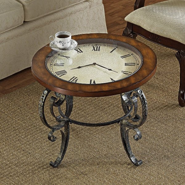CLOCK TOP WOODEN END TABLE DESIGN IDEAS