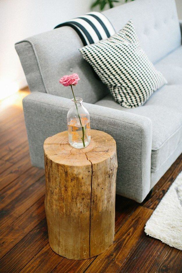 DIY WOOD TREE LOG END TABLE DESIGN IDEAS UNIQUE