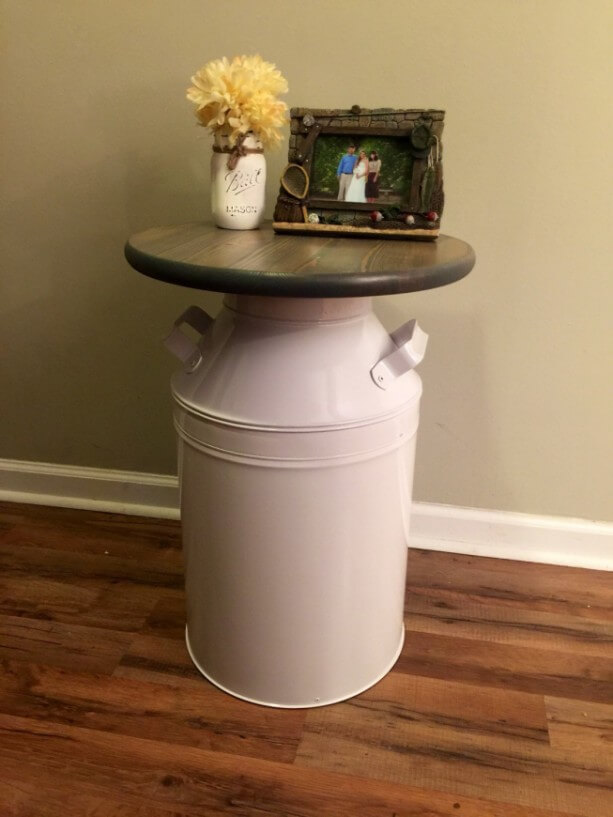 MILK CAN TABLE WOOD TOP DESIGN IDEAS
