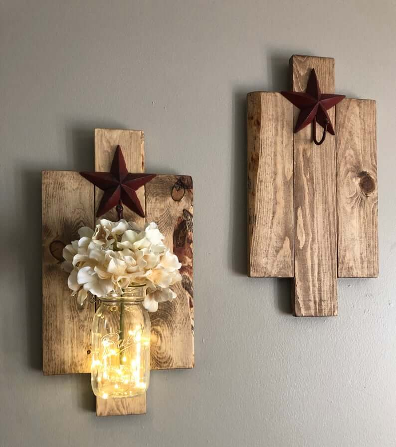 RUSTIC WOOD WALL SCONCES DECOR IDEAS