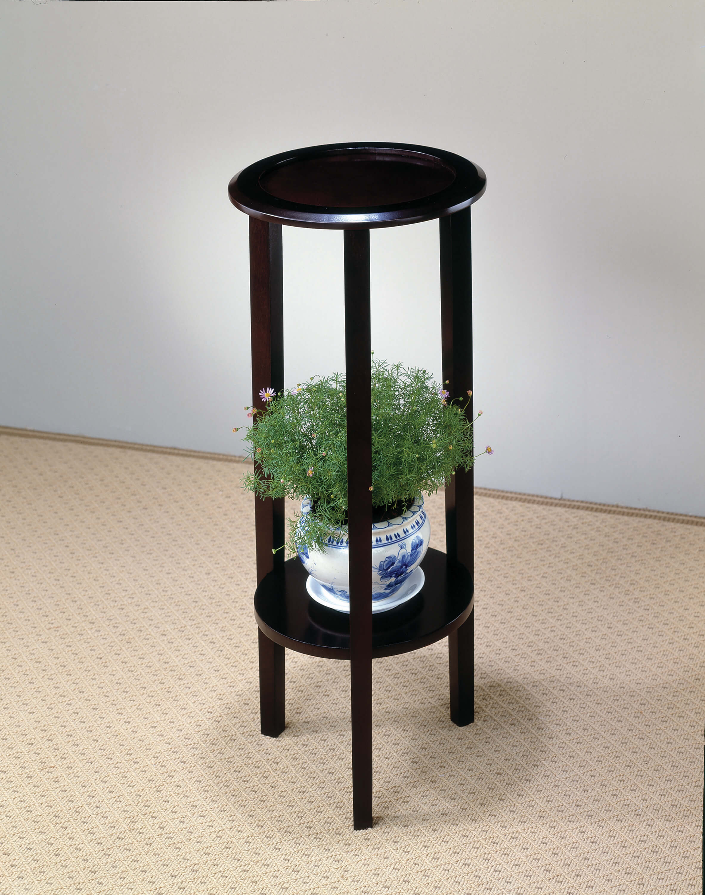 WOODEN ROUND END TABLE WITH BOTTOM SHELVES