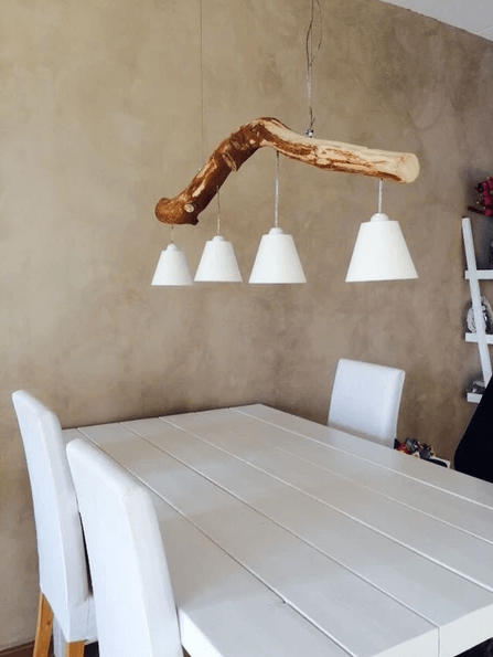 CEILING FIXTURE WITH LAMPSHADES HANGING FROM A WOODEN BRANCH