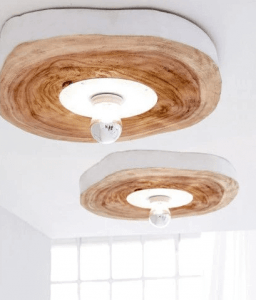 CEILING WOOD SLICE LIGHTING FIXTURES MADE FROM WALNUT SEEN