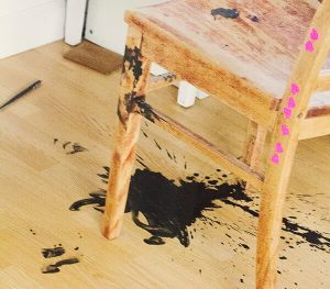 CLEAN INK STAIN WOOD FURNITURE