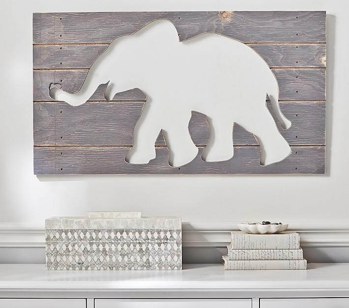 CUTOUT WOOD GRAY WEATHERED WALL ART ELEPHANT