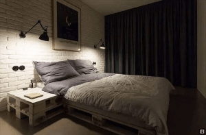 DIY PALLET BED FRAME DESIGN IDEAS WITH MATCHING NIGHTSTAND