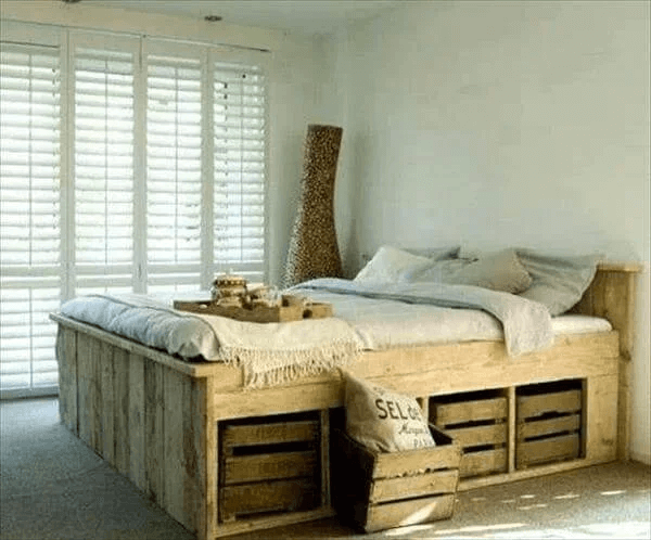DIY PALLET BED FRAME WITH STORAGE DESIGN IDEAS