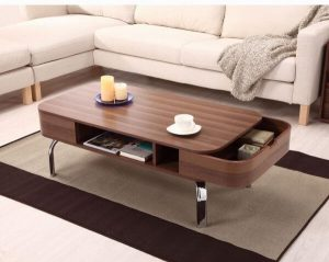 EXPANDABLE COFFEE TABLE WALNUT WOOD TWO DRAWER