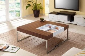 MODERN OAK WOOD COFFEE TABLE WITH DISPLAY CASE AND STEEL LEGS