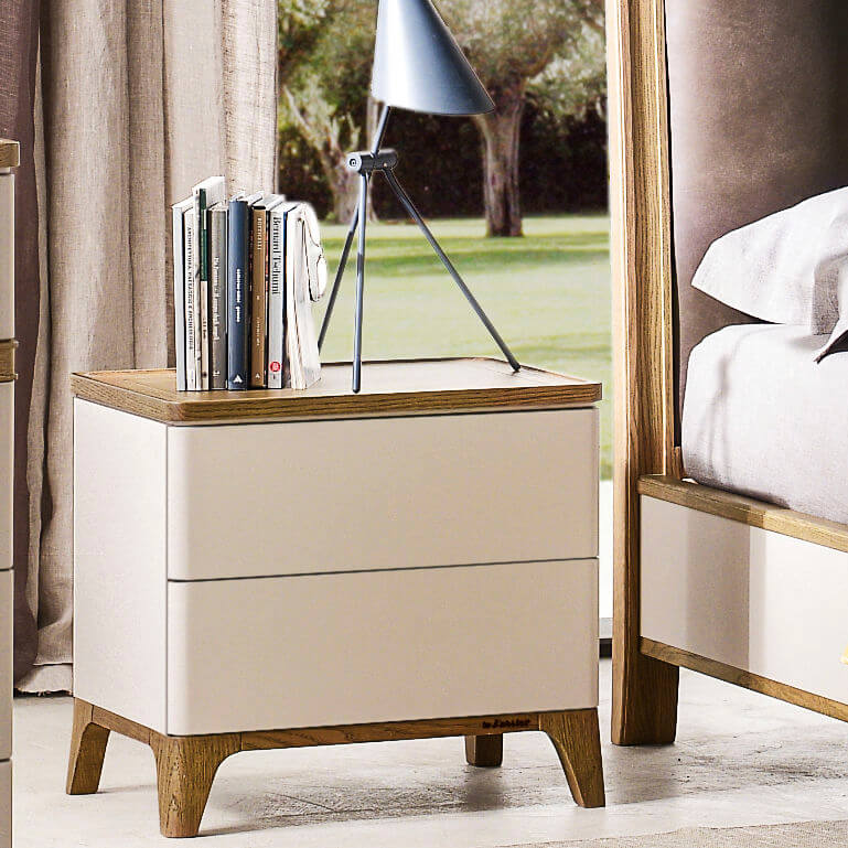 SOLID WOOD BICOLOR NIGHTSTAND FURNITURE IDEAS
