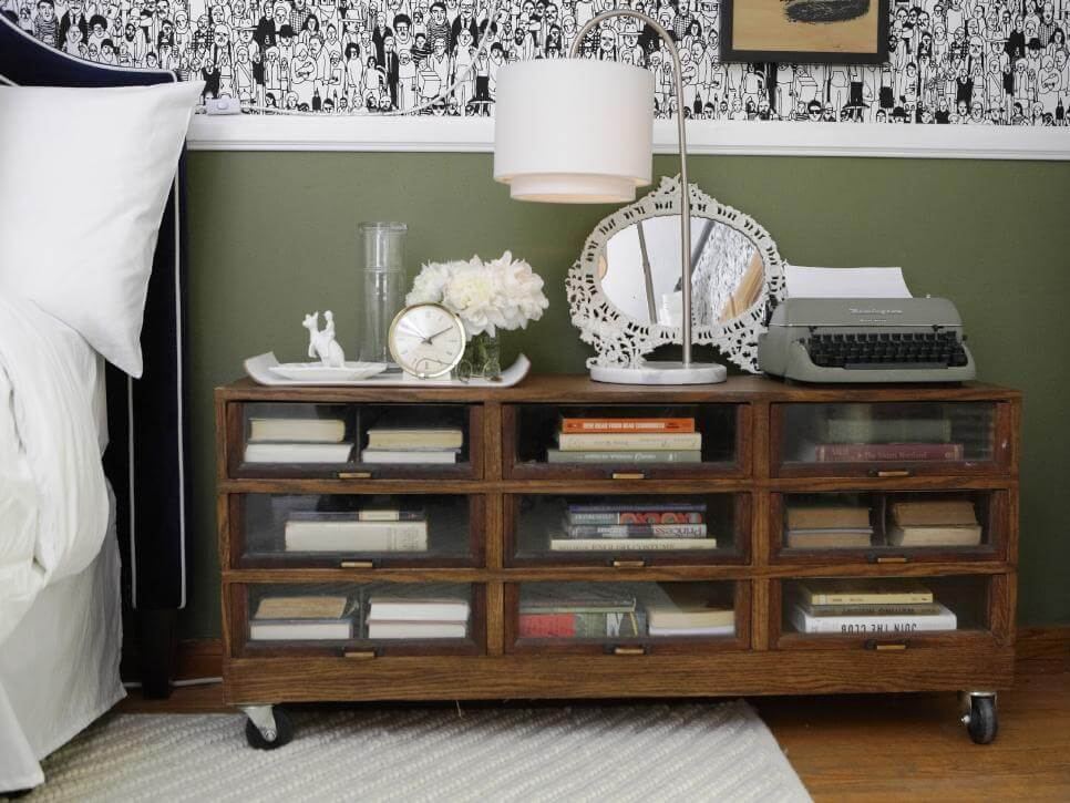 SOLID WOOD CART NIGHTSTAND DESIGN IDEAS