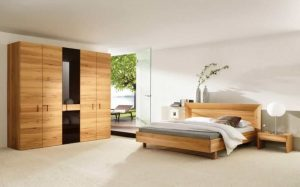 SOLID WOODEN BED AND WARDROBE