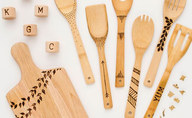 WOOD BURNING IDEAS FOR DECORATIVE KITCHEN TOOLS
