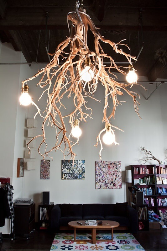 WOODEN BRANCHES ON THE CEILING LAMP DECORATION IDEAS