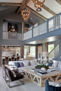 RECLAIMED BEAMS WOOD FURNITURE IN THE BEACH STYLE LIVING ROOM