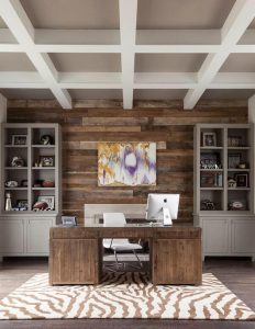 RECLAIMED WOOD FURNITURE WORK DESK AND ACCENT WALL