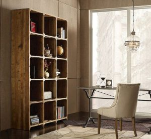REPURPOSED WOOD FURNITURE SHELVES OPEN BOOKCASE FOR MODERN HOME OFFICE