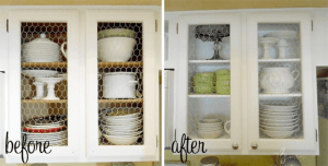 RUSTIC CHICKEN WIRE KITCHEN CABINET MAKEOVER BEFORE AND AFTER