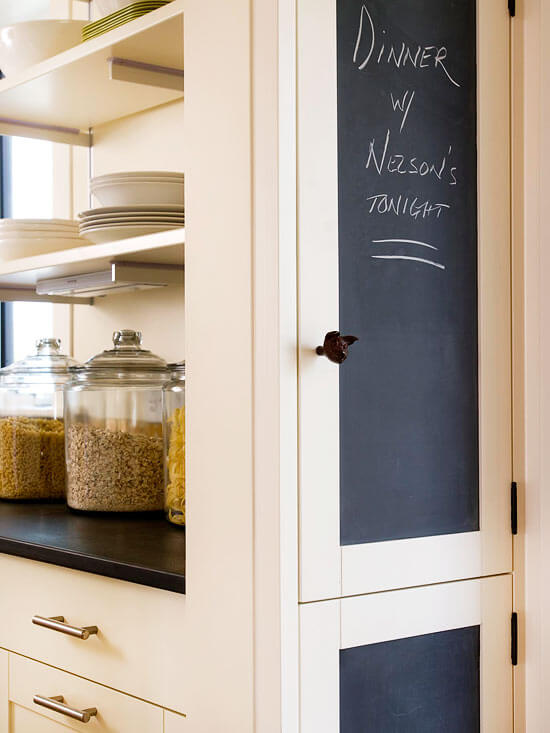 WOOD CABINET MAKEOVER IDEAS WITH CHALKBOARD FOR THE DOOR