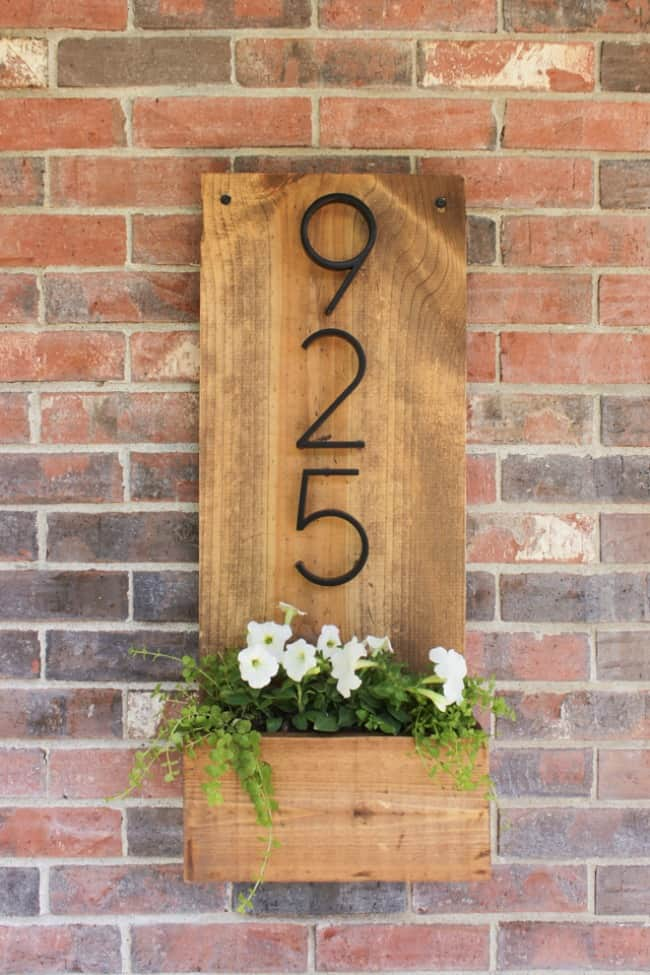 WOODEN ADDRESS SIGN WITH PLANTER BOX