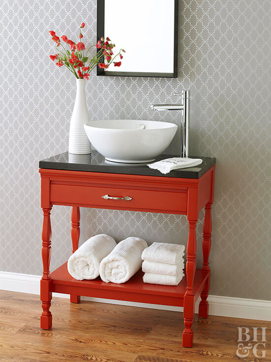 REAL WOOD BATHROOM FURNITURE WITH SINK AND DECORATION IDEAS