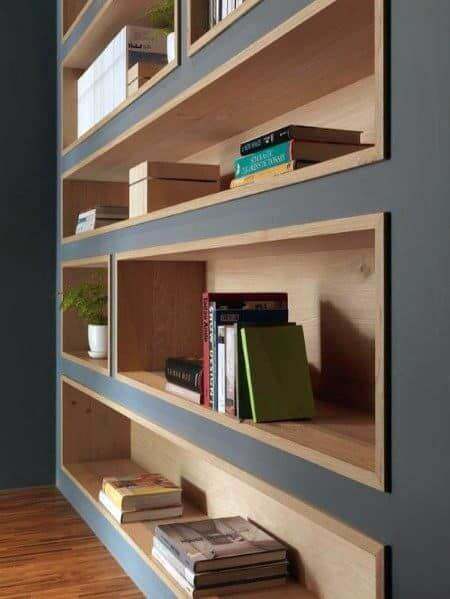 BUILT IN WOOD BOOKSHELF DESIGN IDEAS