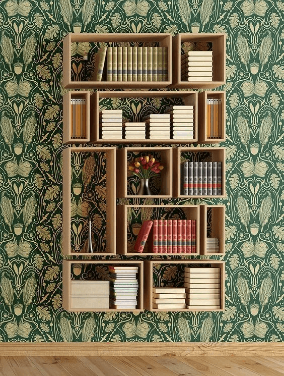 COLLAGE SHAPE WOOD BOOKSHELF DESIGN IDEAS