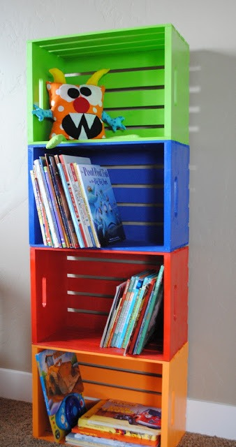 CREATIVE RAINBOW WOODEN CRATE BOOKSHELF DESIGN IDEAS
