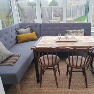 RECLAIMED WOOD DINING TABLE CHAIRS SET AND CORNER BENCH