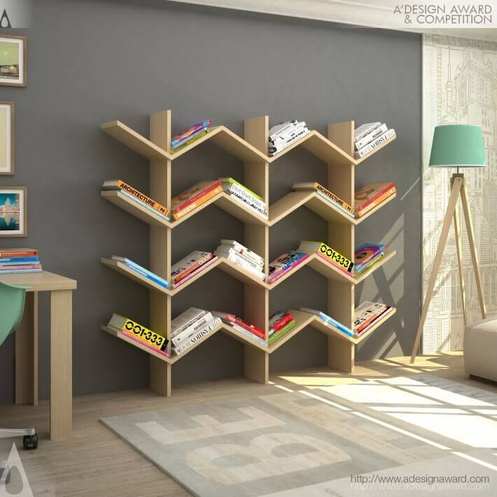 SHARP WAVES WOOD BOOKSHELF DESIGN IDEAS