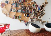 UNIQUE COUNTRY USA MAP SHAPE WOOD BOOKSHELF DESIGN IDEAS