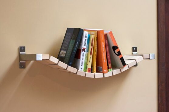 UNIQUE ROPE BRIDGE WOOD BOOKSHELF DESIGN IDEAS