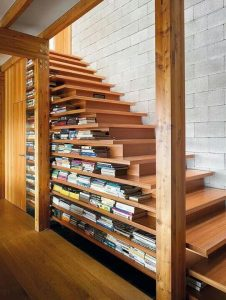 WOODEN STAIRS BOOKSHELF DESIGN IDEAS