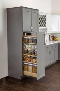 A PULL OUT PANTRY WOOD KITCHEN CABINET DESIGN IDEAS