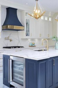 NAVY AND GOLD WOOD KITCHEN CABINET DESIGN IDEAS