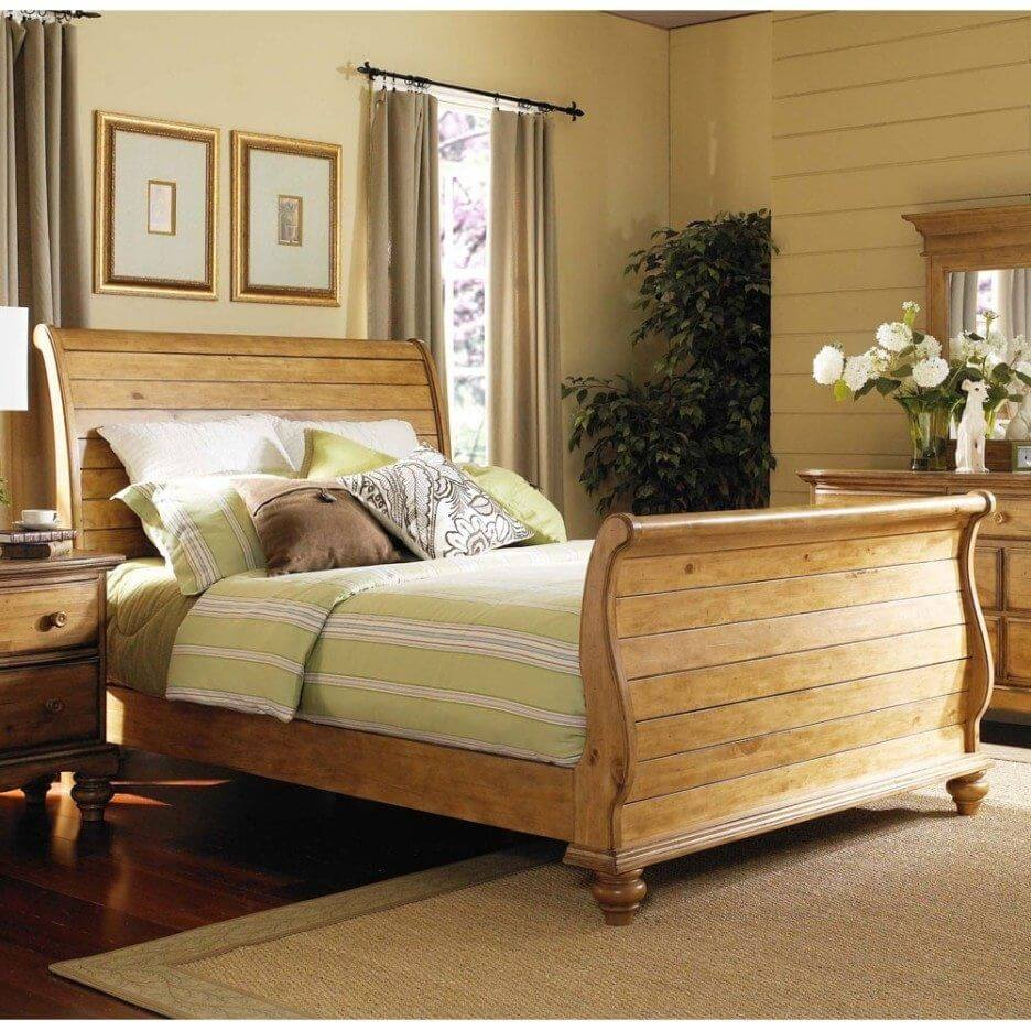 YELLOW PINE WOODEN BED FRAME DESIGN IDEAS